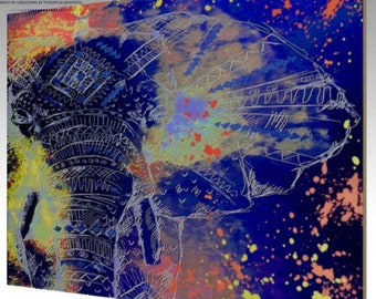 Abstract Elephant Wood Print, Abstract Art, Elephant Art, Wall Art, Home Decor, Original Art