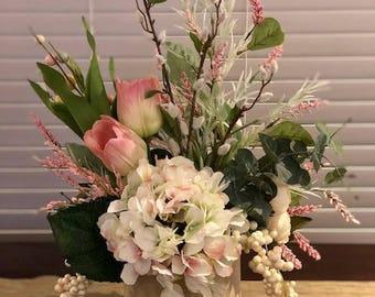 Faux Spring Floral Arrangement