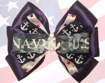 US Navy Military Support Hair Bow