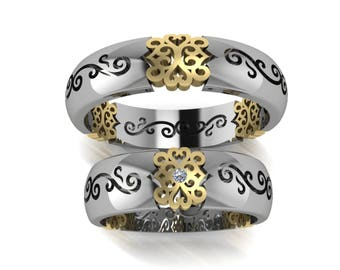 Wedding Ring for HER and for HIM , In White & Yellow