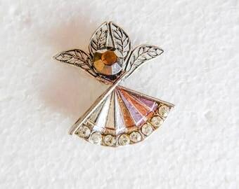 Silver tone Angel Pin w/ Crystals