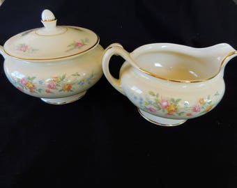 Vintage Homer Laughlin Sugar and Creamer/ Nautilus Ferndale/Georgian Pattern/ Eggshell China