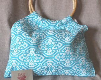 Bag in Sardinian fabric blue and white fantasy with handles in rush