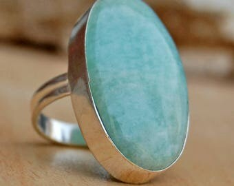 Amazonite Ring,  Huge  Amazonite sterling silver ring, Amazonite Solid silver ring Jewelry