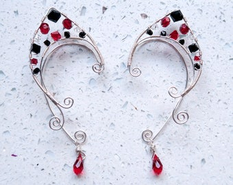 Red Queen Wire Wrapped Elf Ear Cuffs (Pair)