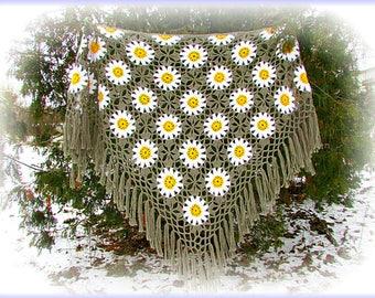 Hand crocheted shawl/hand crochet shawl/crochet shawl/shawl crochet/shawl handmade/Openwork shawl/Knit Shawl/Big Shawl/Green shawl.