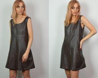 Vintage 70s Dark Brown Leather Mini Dress
