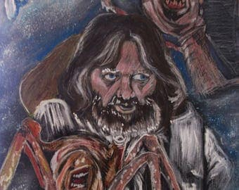 """Drawing of the movie """"The Thing"""" Mixed media 16 by 20"""""""