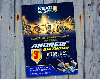 Lego Nexo Knights Party Invite, Lego Knight Birthday Card Invitation, Lego Printable Digital Invitations, Custom Personalized Printables
