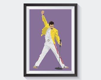 Freddie Mercury Print, Queen Poster