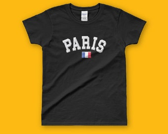 Embroidery Effect Look PARIS Ladies' T-shirt, City Name Women tshirt, fashion tshirt