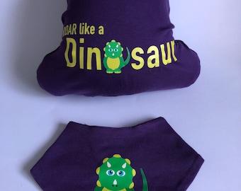 ROAR like a Dinosaur all in one and bandana bib