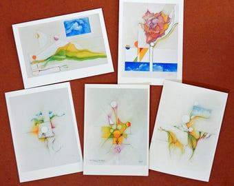 Handmade Original Abstract Art Color Pencil Pastel Notecards 02