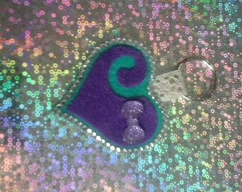 Heart keyring or bag charm