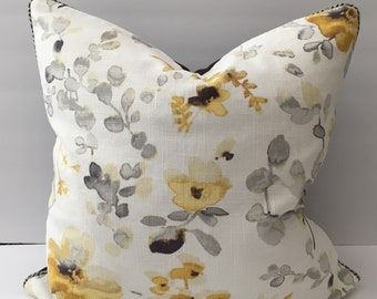 Grey White Golden Watercolor Floral Pillows