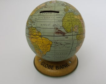 J. Chein Vintage Metal Globe, mid-1920s to mid-1930s