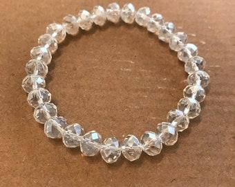 Clear Glass Crystal Stretch Bracelet