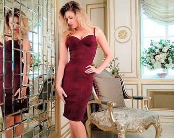Bordeaux dress from eco-suede