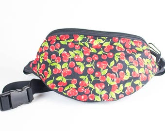 Fanny pack Cherry fabric - Cute  - Hip Waist Bag - 2 Zippers