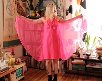 60s cotton candy pink chiffon dress, vintage 1960s mod party dress with flowy cape back, knee length . womens medium