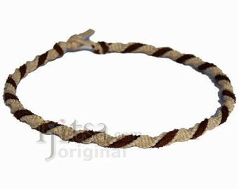 Natural twisted hemp necklace chocolate leather