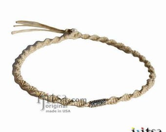 Natural Soft Hemp, Silver Fancy Tube Tribes Bead Surfer Style Twisted Choker Necklace