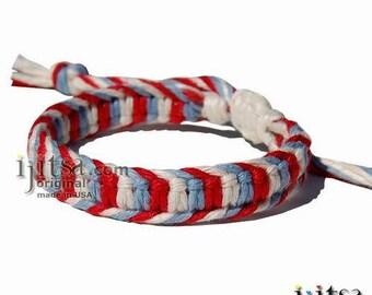 Sky Blue, Red and White Hemp Flat Adjustable Bracelet or Anklet