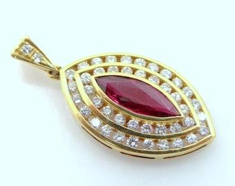 18k Gold Ruby & Diamond Pendant