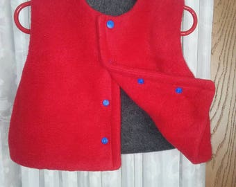 Boys 6 to 12 month reversible red n charcoal Grey. Snap front. End of winter, spring outerwear.