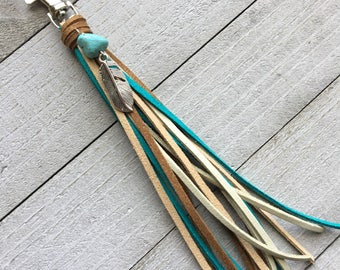 Purse Tassel Southwestern Style Boho Bag Charm Keychain Handbag - Brown Turquoise Blue + Feather Charm Gift for Her Cowgirl Tassel (KC252)