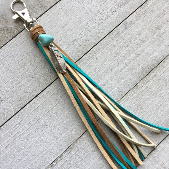 Purse Tassel Southwestern Style Boho Bag Charm Keychain Handbag - Brown Turquoise Blue + Feather Charm Gift for Her Cowgirl Tassel (KC252)