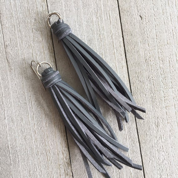 "Gray Leather Tassel Earrings - Faux Leather Fringe Tassel Earrings- 3.5"" Long - Boho Modern Long Earrings - Gift for Her Gift Under 25"