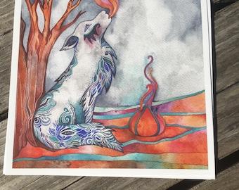 Blue wolf Giclee print by Megan Noel