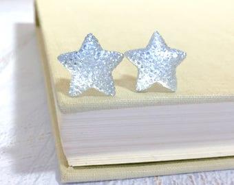 Large Clear Star Stud Earrings in Bumpy Shimmering Celestial Sparkling Glittery Faux Druzy, Surgical Steel