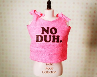 NO DUH Hot Pink Tank Top T-Shirt for Blythe