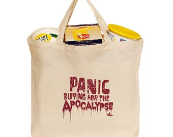Panic Buying For the Apocalypse Cotton Grocery Tote Bag