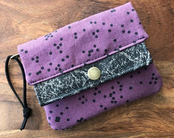 Mini Minimalist Wallet - Dark Plum Scattered Dots