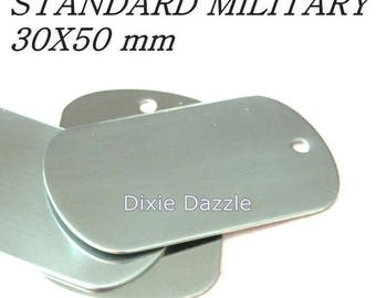 5 stainless steel metal Dog Tags, military Size 50x30, dogtag stamping blank, for laser engraving, Jewelry Pendant, pet tag, blank  640D