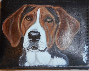 Treeing Walker Coonhound Dog Custom Painted Leather Checkbook Cover