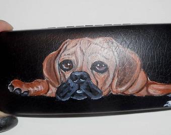Puggle Dog  Custom Hand Painted Eyeglass Case