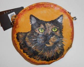 Tortoiseshell cat Hand Painted Leather Wristlet Pouch Mini bag Purse