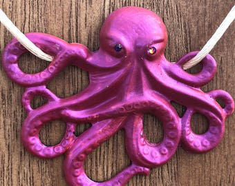 Handpainted Necklace Melanie the Octopus Pendant in Hot Pink