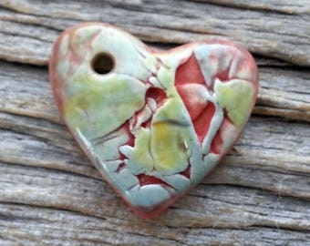 Ceramic Heart Pendant Textured and Hand Painted by  Mary Harding