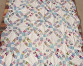 UNfinished Vintage Patchwork Cotton Double Wedding Ring Quilt Top 68x78