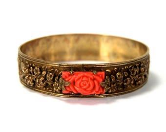 Antique Art Deco Bangle Bracelet Repousse Roses Faux Coral Rose Cabochon Shields Leaves Scrolls circa 1920
