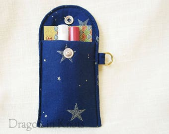 Stars Business Card Case - Navy Blue Lip Gloss and Credit Card Holder, Keychain Wallet, insulated padded mini essentials pouch, night sky