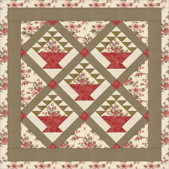 Flower Basket Quilt Pattern Instant Download PDF File