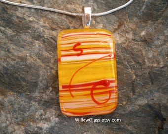 Fused Glass Pendant Orange and Yellow,  Glass Jewelry, OOAK, Willow Glass