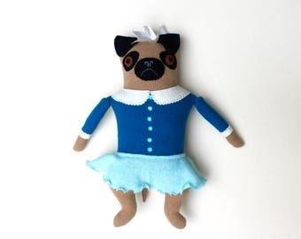 Pug Girl in Aqua wool doll plush softie art