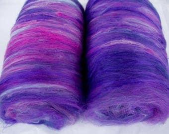 Batts, 18 micron merino silk batts, spinning fiber, felting wool, felting batts, nuno felting fiber, spinning batts, batting, 3.5oz, 100g